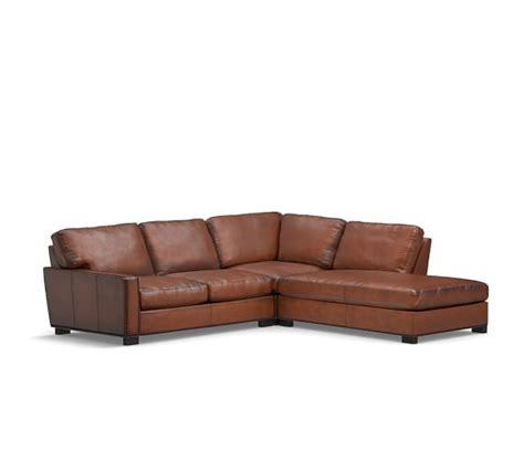 turner leather sectional turner square arm leather 3 piece bumper sectional with