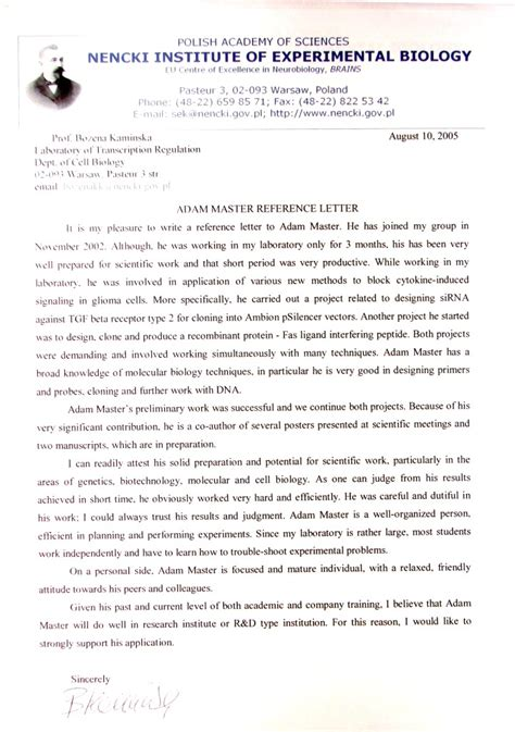 Reference Letter From For Master Molecular Medicine Certificates