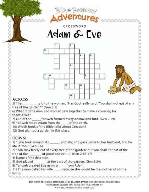bible crossword puzzle adam  eve sunday school