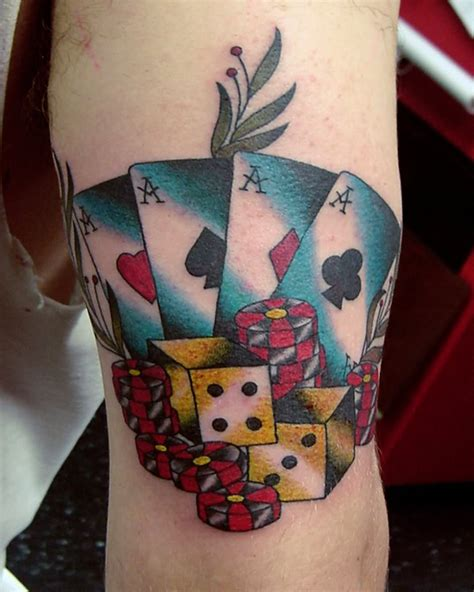 poker tattoo cards on forearm by pxa