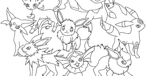pokemon coloring pages eevee evolutions glaceon flareon eevee pokemon evolutions coloring pages printable