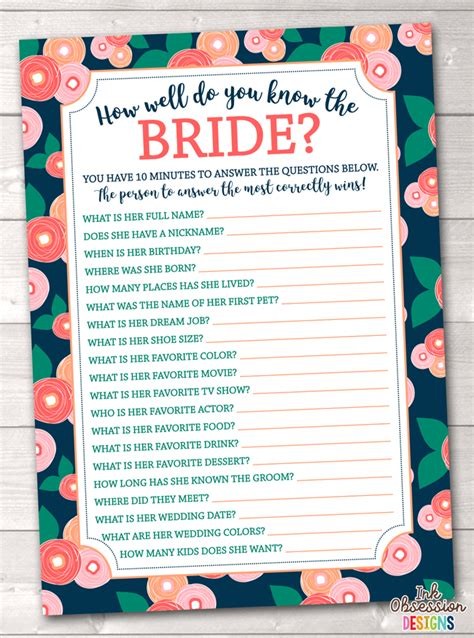 how well do you the bridal shower printable bloom how well do you the printable bridal shower ga erin bradley ink