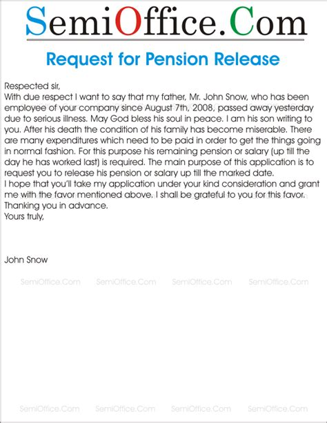 Fund Release Letter Format Request Letter For Pension Release Semioffice