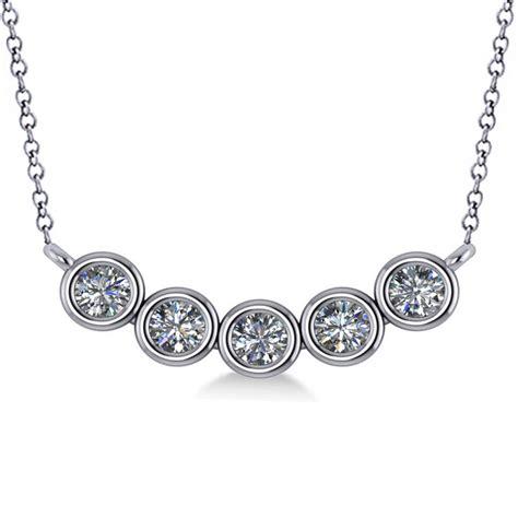 Set Of 2 Pendant Necklace bezel set five pendant necklace 14k white