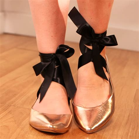 pointe shoe inspired flats add ribbon to your ballet flats popsugar fashion