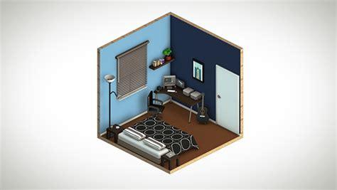 isometric view of bedroom my isometric bedroom on behance