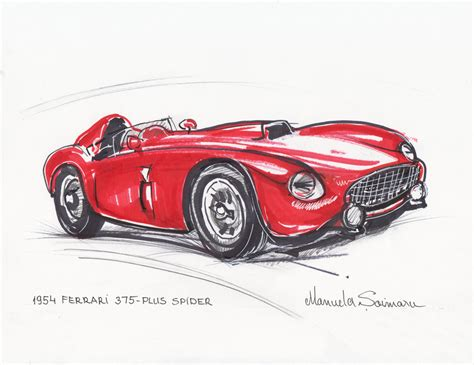 vintage ferrari art classic car print 1954 ferrari 375 red car drawing racing car