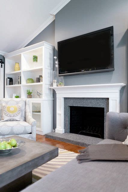 Grey Living Room With White Fireplace Tv Above Fireplace Gray White Decor Ideas