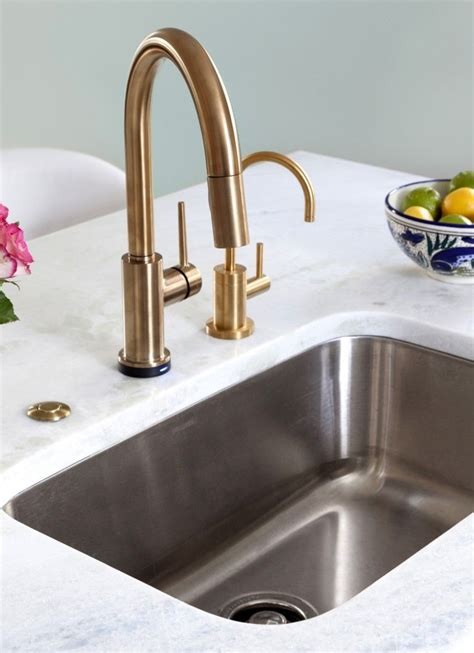 delta trinsic faucet  champagne bronze kitchen  design manifest kitchens pinterest