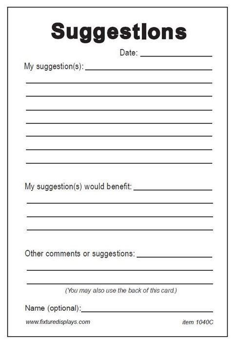 employee suggestion form template the gallery for gt suggestion box form template