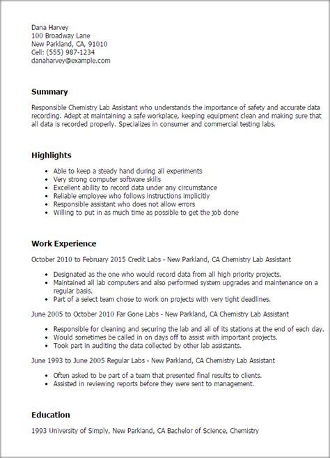 resume cover page sle chemistry lab technician resume professional chemistry lab