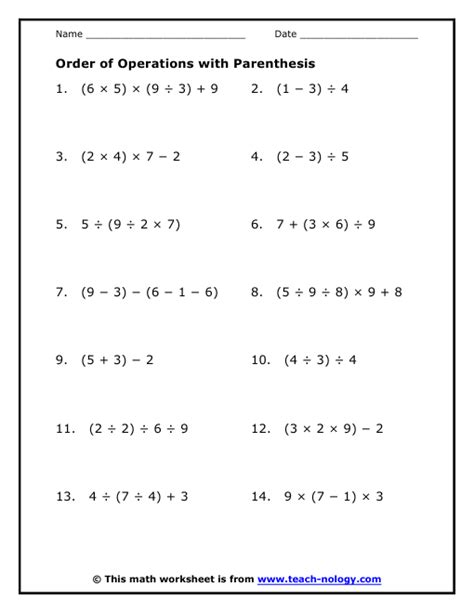 Order Of Operations Free Printable Worksheets With Answers