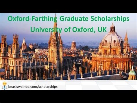 Of Oxford Mba Scholarships by Uk Of Oxford Farthing Graduate Scholarship