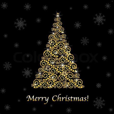 weihnachtsbaum gold abstract gold weihnachtsbaum auf schwarzem hintergrund