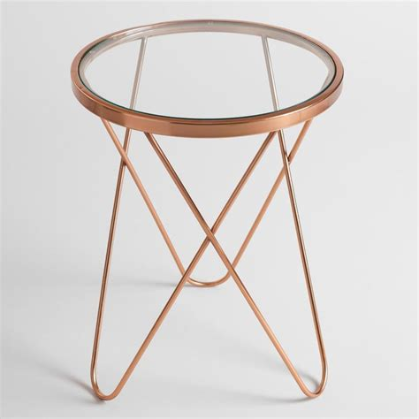 round accent table with glass top rose gold tomlin accent table with glass top hairpin