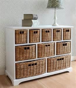 Tetbury wide storage chest with wicker baskets bedroom