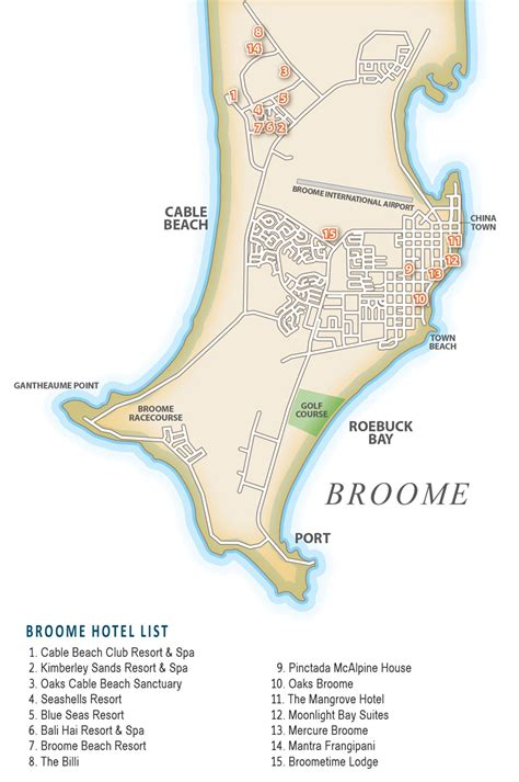 cable resort broome map broome accommodation information broome accommodation