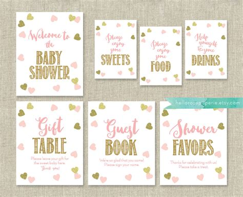 Baby Shower Signs pink and gold baby shower signs package bundle 7 table signs