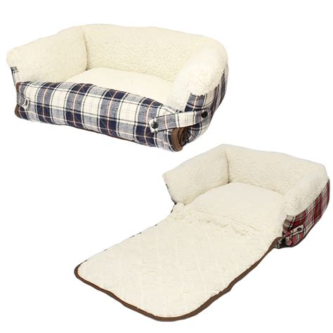 dog bed couch me my pet check cosy sheepskin fold out cat dog bed sofa