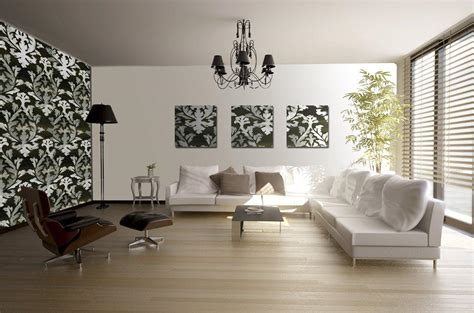 Interior Furnishing Ideas Modern Living Room Interior Decorating Ideas With Mural Wallpapers And L Shape White Sofa