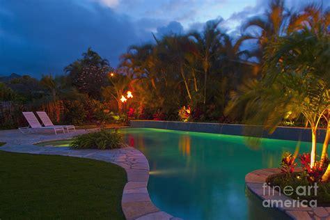 backyard night tropical backyard pool at night photograph by inti st clair