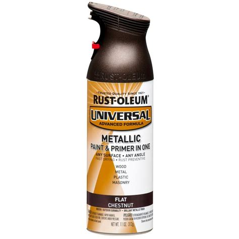 rust oleum universal 11 oz all surface flat metallic chestnut spray paint and primer in one 6