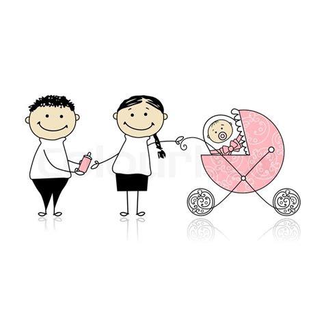 parents walking with newborn baby in buggy stock vector