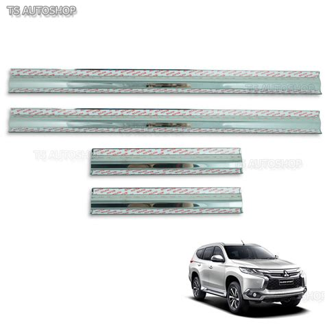 Door Sill Plate All New Pajero 2016 Stainless With L stainless steel scuff plate sill cover for mitsubishi
