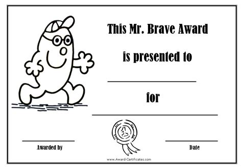 bravery certificate template award certificates with the mr