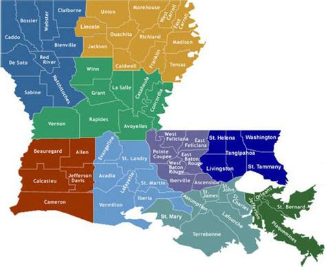louisiana map index parish health profiles 1999 department of health state