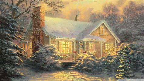 kinkade cottage painting cottage by kinkade wallpaper