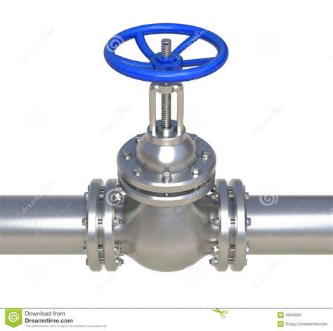Regulating Gas Kran 3 Manual gas steel pipeline with valve 3d illustration stock