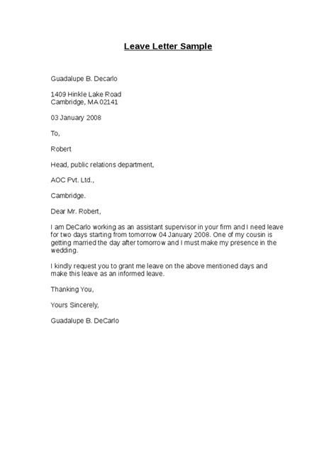 format of application letter for casual leave leave letter sle hashdoc