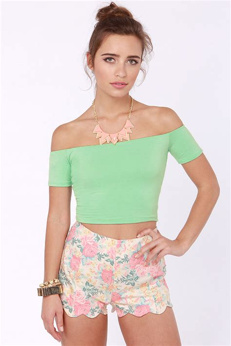 Mint Green Top The Shoulder Top Crop Top 28 00