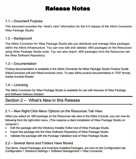 release notes template doc release notes template 6 free documents in pdf word