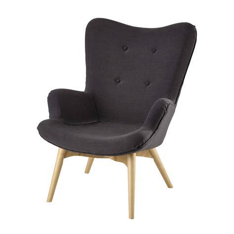 fauteuil tissu vintage fauteuil vintage en tissu anthracite iceberg maisons du monde