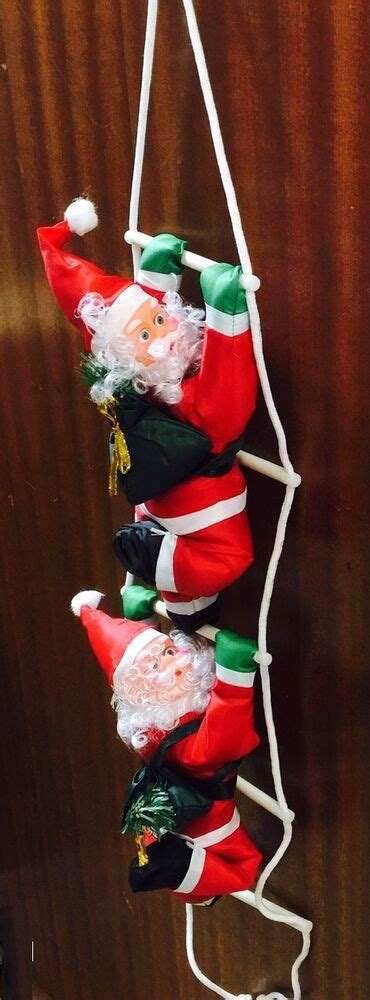 climbing santa ladder christmas decoration santa climbing on rope ladder indoor outdoor decoration ebay