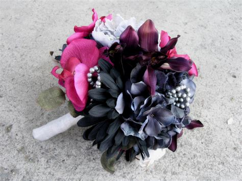 Corsage Black Grey pink wedding bouquet gray black wedding flowers set on luulla
