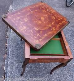 Ornate Chairs 1700s Antique Game Table Folding Inlaid Wood Cards Poker