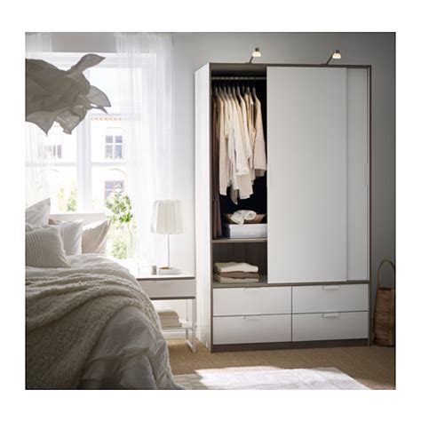 Small White Wardrobe With Drawers Trysil Sliding Door Wardrobe With 4 Drawers White