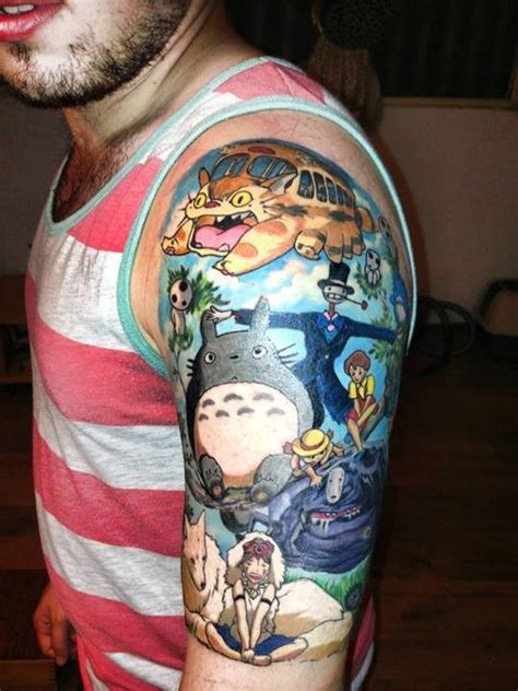 anime tattoo sleeve ghibli characters anime on half sleeve