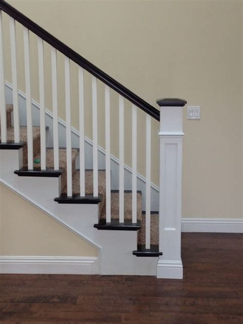 Stair Newel Post Recessed Panel Box Newel Traditional Staircase San