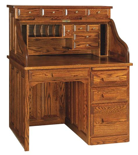 amish roll top desk amish classic single pedestal rolltop desk