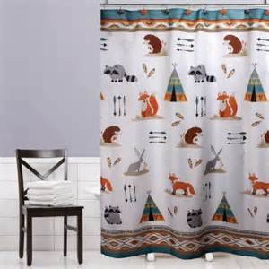 Mainstays Shower Curtain Mainstays Kids Woodland Creatures Fabric Shower Curtain
