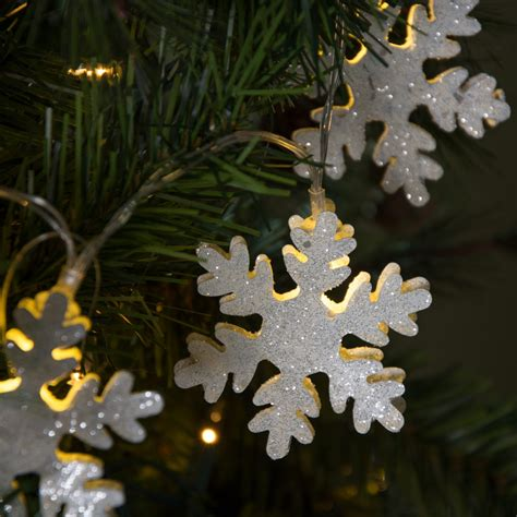 snowflake lights string white glitter snowflake light string led m8575