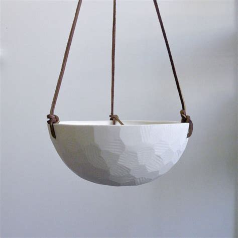 Geometric Hanging Porcelain Planter Large By Revisions Modern Hanging Planters