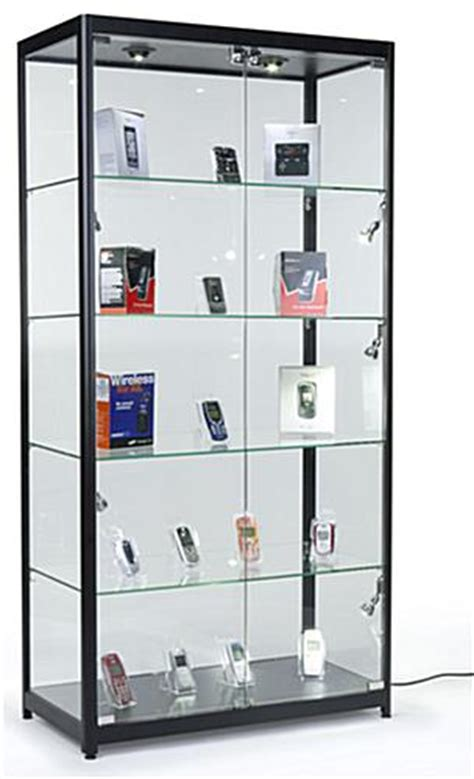 Locking Showcase   Black Frame & Melamine Showcase