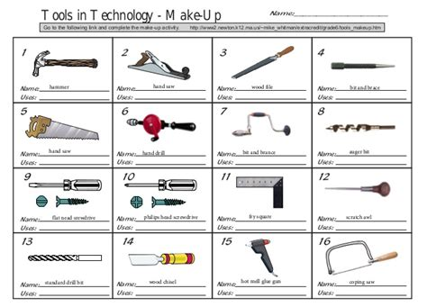 names of layout tools tools makeup worksheet wiht answers