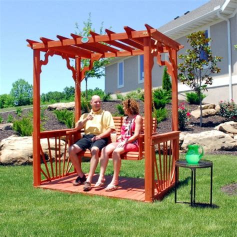 free standing patio swing new outdoor 7 wooden cedar wood pergola yard garden porch