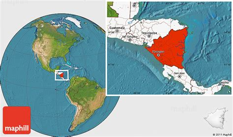 nicaragua location on world map satellite location map of nicaragua highlighted continent